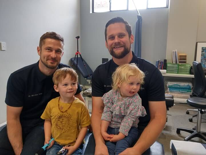 Bunbury Chiropractors NIck King and Jono King from King Chiropractic with two young children